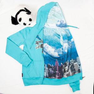 Teal reversible Zoo York hoodie